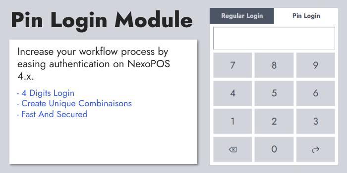 Pin Login Module for NexoPOS 4.x