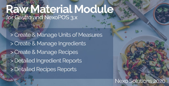 Raw Material Module For NexoPOS 3.x